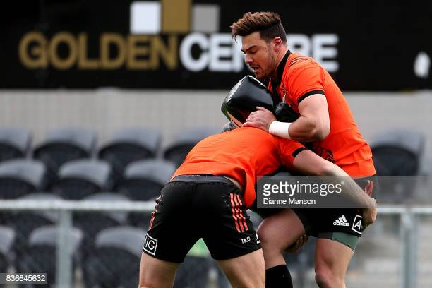 David Havili of the All Blacks is tackled during a New Zealand All Blacks Training Session on August 22 2017 in Dunedin New Zealand