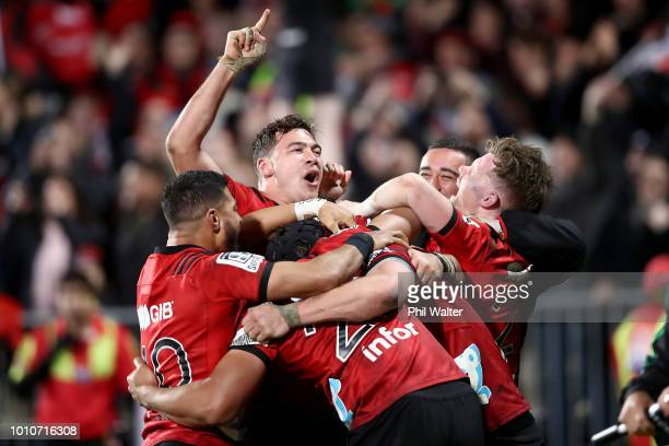 David Havili of the Crusaders celebrates on full time during the Super Rugby Final match between the Crusaders and the Lions at AMI Stadium on August...