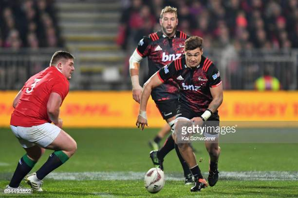 David Havili of the Crusaders charges forward during the match between the Crusaders and the British Irish Lions at AMI Stadium on June 10 2017 in...