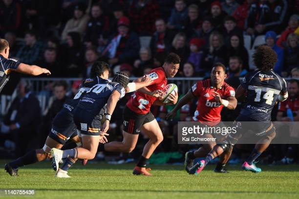 David Havili of the Crusaders charges forward during the round 8 Super Rugby match between the Crusaders and Brumbies at Christchurch Stadium on...