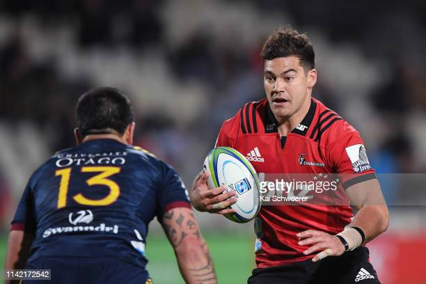 David Havili of the Crusaders charges forward during the round 9 Super Rugby match between the Crusaders and Highlanders at Christchurch Stadium on...