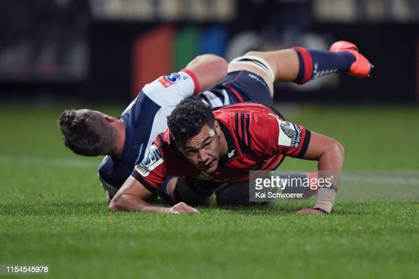 David Havili of the Crusaders dives over to score a try during the round 17 Super Rugby match between the Crusaders and the Rebels at Christchurch...