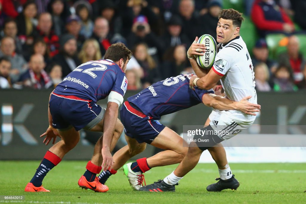 David Havili of the Crusaders is tackled during the round 12 Super Rugby match between the Rebels and the Crusaders at AAMI Park on May 4, 2018 in Melbourne, Australia.