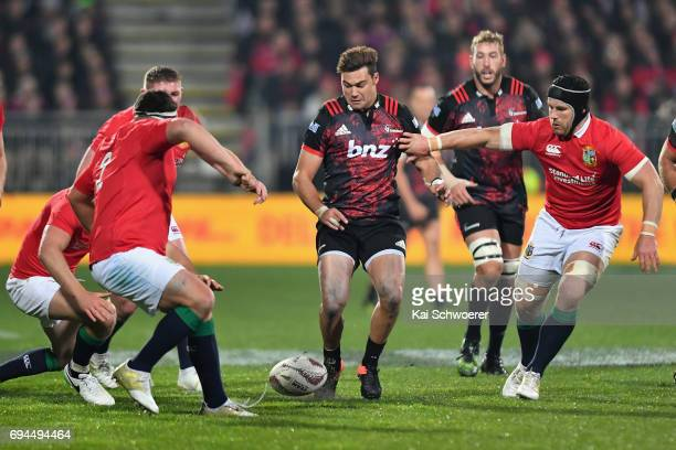 David Havili of the Crusaders kicks the ball during the match between the Crusaders and the British Irish Lions at AMI Stadium on June 10 2017 in...