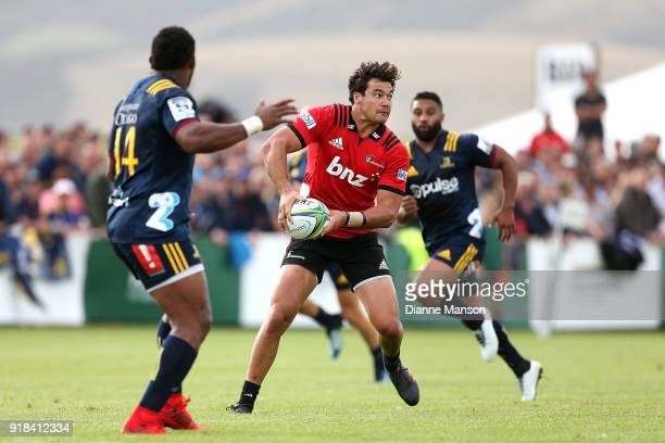 David Havili of the Crusaders looks to pass the ball during the Super Rugby trial match between the Highlanders and the Crusaders at Fred Booth Park...