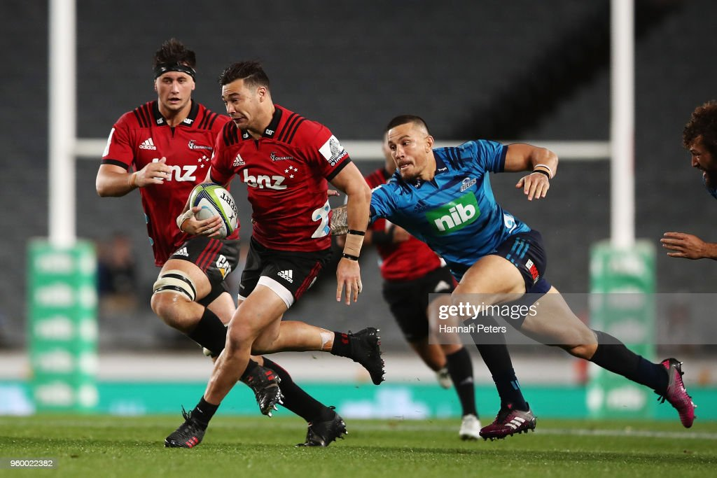 David Havili of the Crusaders makes a break during the round 14 Super Rugby match between the Blues and the Crusaders at Eden Park on May 19, 2018 in Auckland, New Zealand.