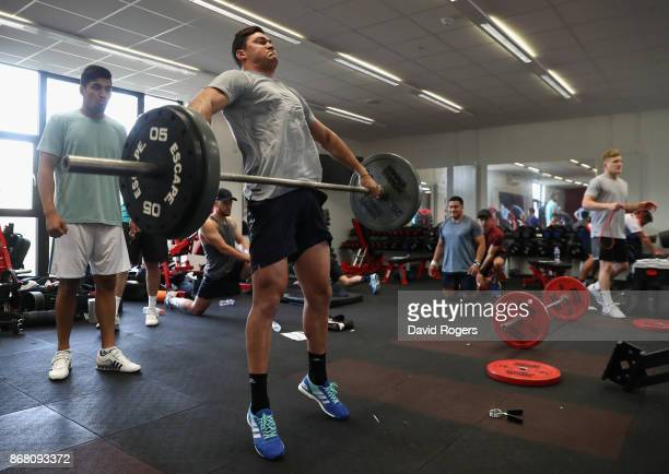 David Havili takes part in the New Zealand All Blacks gym session at the Lensbury on October 30 2017 in London England