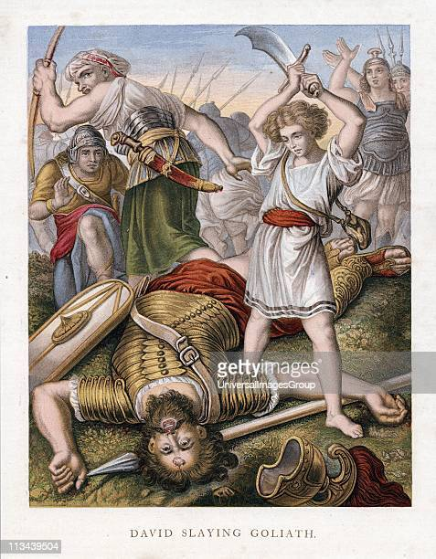 David having killed the Philistine giant Goliath with stone from his sling makes sure that Goliath is really dead Bible 1 Samuel 17I Goliath 6 cubits...