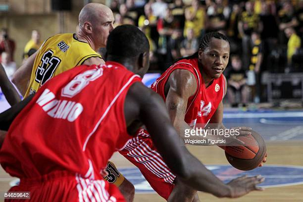 David Hawkins of Armani Jeans Milano in action during the Euroleague Basketball Last 16 Game 2 match between Asseco Prokom GDYNIA v Armani Jeans...