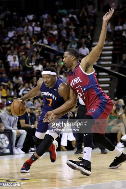 David Hawkins of the 3Õs Company handles the ball against Dominic McGuire of the TriState in week nine of the BIG3 threeonthree basketball league at...