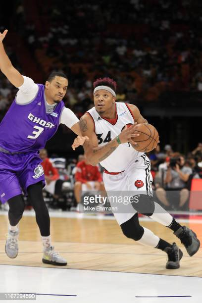 David Hawkins of Trilogy drives to the basket against the Ghost Ballers during week eight of the BIG3 three on three basketball league at...