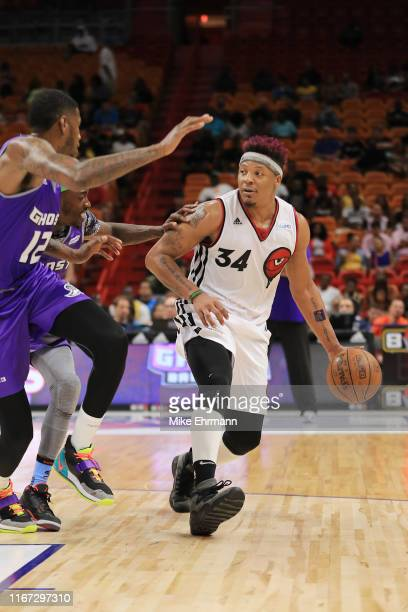 David Hawkins of Trilogy in action against the Ghost Ballers during week eight of the BIG3 three on three basketball league at AmericanAirlines Arena...