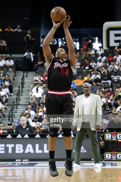 David Hawkins of Trilogy shoots against Killer 3s during week four of the BIG3 three-on-three basketball league at Barclays Center on July 14, 2019...
