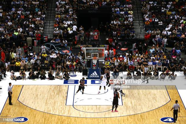David Hawkins of Trilogy shoots against Stephen Jackson of Killer 3s during week four of the BIG3 three-on-three basketball league at Barclays Center...