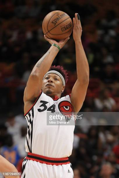 David Hawkins of Trilogy shoots against the Ghost Ballers during week eight of the BIG3 three on three basketball league at AmericanAirlines Arena on...