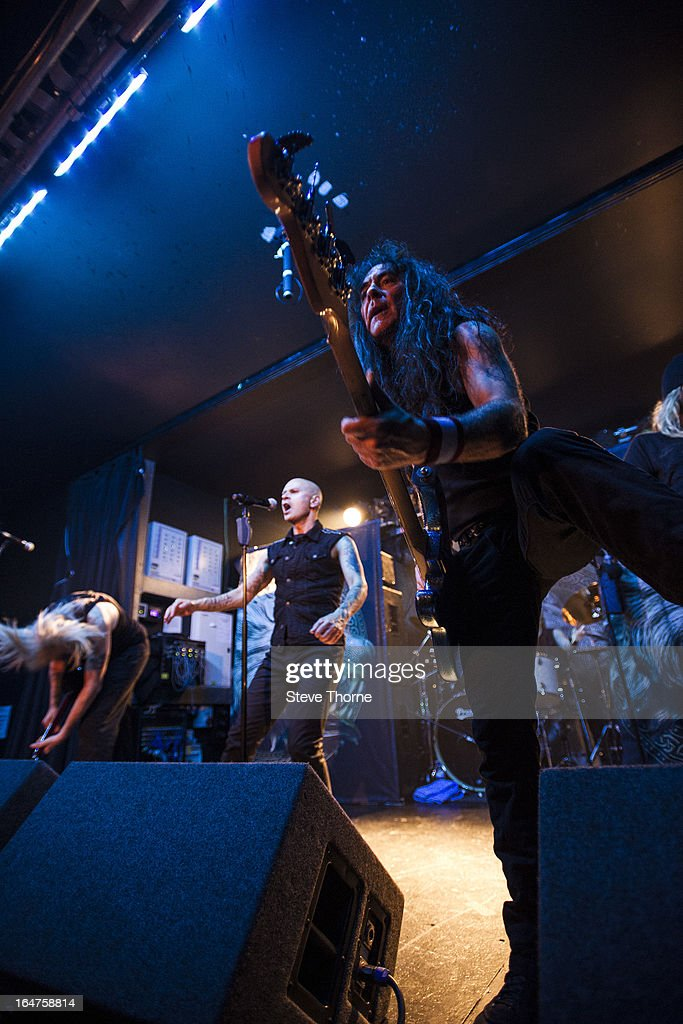 David Hawkins, Richard Taylor and Steve Harris of British Lion perform on stage on March 27, 2013 in Birmingham, England.