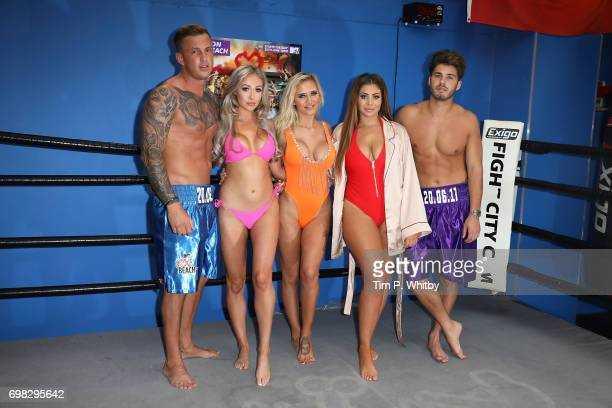 David Hawley Chloe Ferry Georgia Crone Che McSorley and Josh Ritchie attend an Ex on the beach photocall to launch series 7 at the Fight City Gym on...