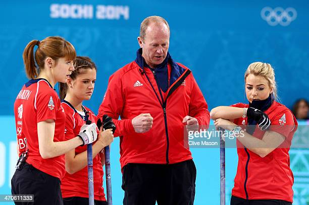 David Hay coach of Great Britain talks to Claire Hamilton Vicki Adams and Anna Sloan of Great Britain during the Bronze medal match between...