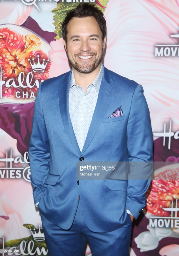 David Haydn-Jones arrives to the Hallmark Channel and Hallmark Movies and Mysteries Winter 2018 TCA Press Tour held at Tournament House on January 13, 2018 in Pasadena, California.
