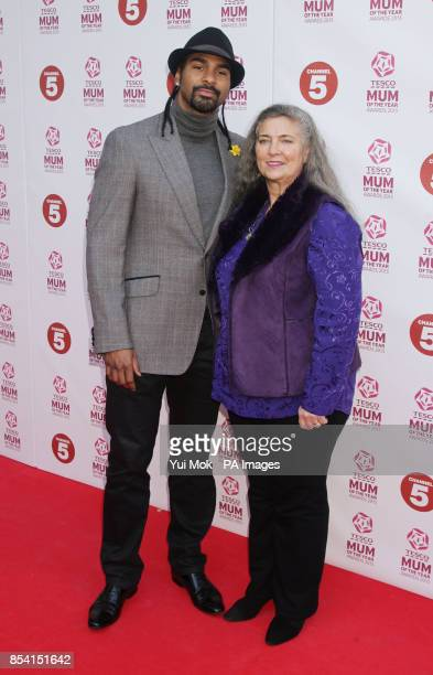 David Haye and his mum Jane arriving for the Tesco Mum of the Year Awards at The Savoy hotel in central London