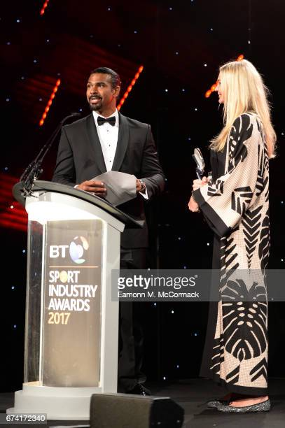 David Haye and Jodie Kidd present the Social Media Campaign of the Year award during the BT Sport Industry Awards 2017 at Battersea Evolution on...