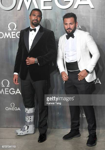 David Haye and Joe Fournier attend the Lost In Space event to celebrate the 60th anniversary of the OMEGA Speedmaster at the Tate Modern on April 26...