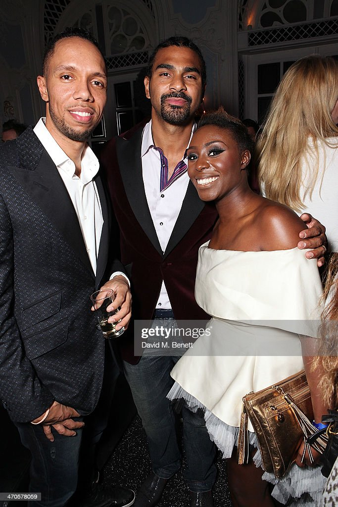 David Haye (C) and Laura Mvula are seen at Warner & Belvedere Post BRIT Awards party at The Savoy Hotel on February 19, 2014 in London, England.