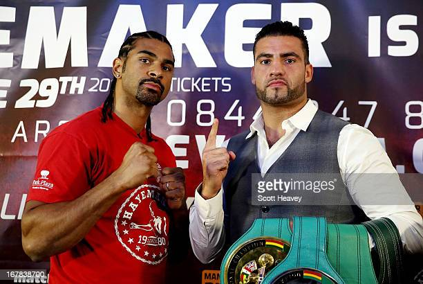 David Haye and Manuel Charr during a press conference to announce their upcoming Heavyweight bout at Manchester Arena on May 1 2013 in Manchester...