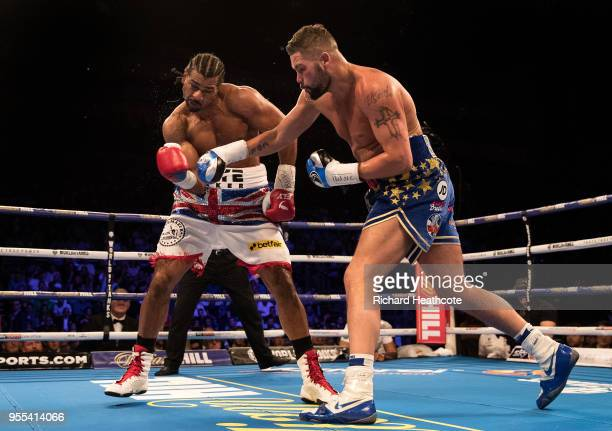 David Haye and Tony Bellew in action during the Heavyweight contest between Tony Bellew and David Haye at The O2 Arena on May 5, 2018 in London,...