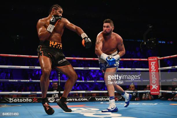 David Haye and Tony Bellew in action during their Heavyweight contest at The O2 Arena on March 4 2017 in London England