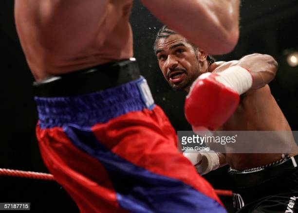 David Haye attacks Lasse Johanesen of Denmark during the European Cruiserweight title fight on March 24, 2006 at York Hall in London, England.