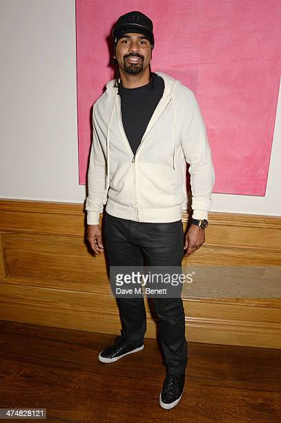David Haye attends a special screening of 'Ride Along' at The Soho Hotel on February 25 2014 in London England