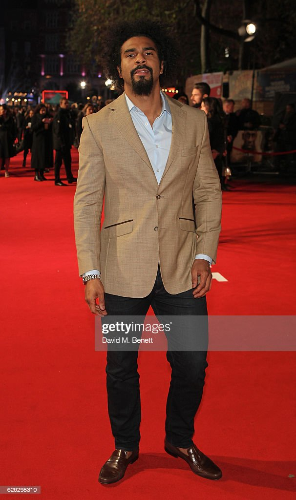 David Haye attends the World Premiere of 'I Am Bolt' at Odeon Leicester Square on November 28, 2016 in London, England.
