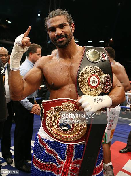 David Haye celebrates after his victory over Dereck Chisora during their vacant WBO and WBA International Heavyweight Championship bout on July 14...