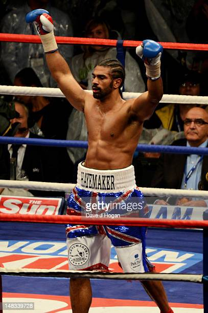 David Haye celebrates after knocking Dereck Chisora out during their heavyweight fight at The Boleyn Ground on July 14 2012 in London England