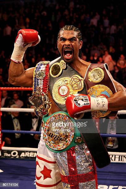 David Haye celebrates his secondround knockout victory over Enzo Maccarinelli for the Unified World Cruiserweight title at The O2 Arena March 9 2008...
