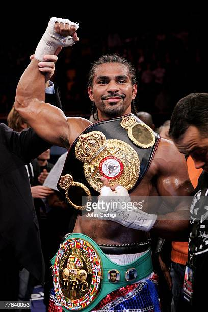 David Haye celebrates winning the WBA and WBC Cruiserweight title fight against JeanMarc Mormeck of France at the Marcel Cerdan Arena on November 10...