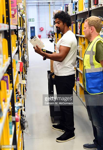 David Haye delivers gifts to boxing gym via Prime Now to celebrate Amazon Prime Day on July 7 2016 in London England