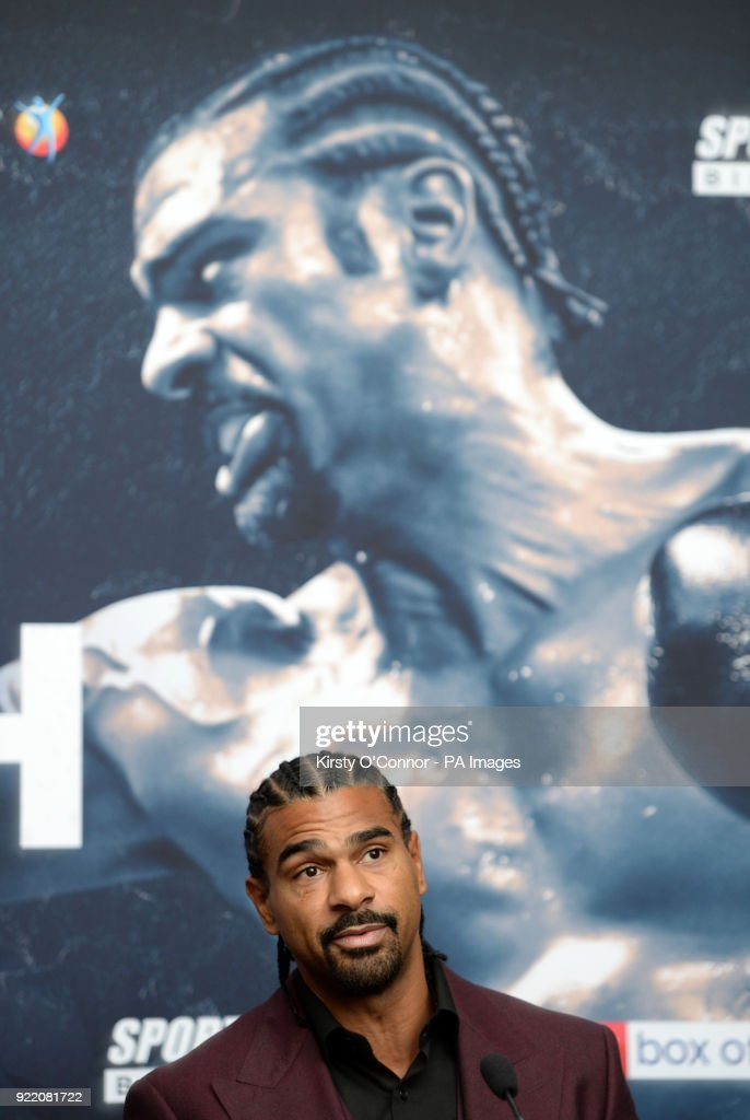 David Haye during the press conference at Park Plaza Westminster Bridge, London. PRESS ASSOCIATION Photo. Picture date: Wednesday February 21, 2018. See PA story BOXING London. Photo credit should read: Kirsty O'Connor/PA Wire