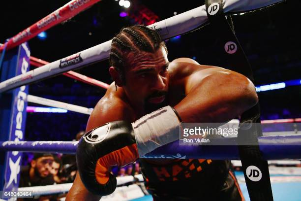 David Haye falls through the ropes during his Heavyweight contest against Tony Bellew at The O2 Arena on March 4 2017 in London England