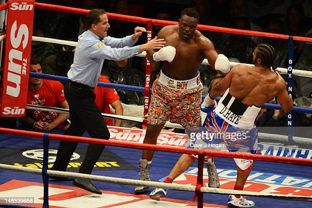 David Haye fights Dereck Chisora during their heavyweight fight at The Boleyn Ground on July 14 2012 in London England