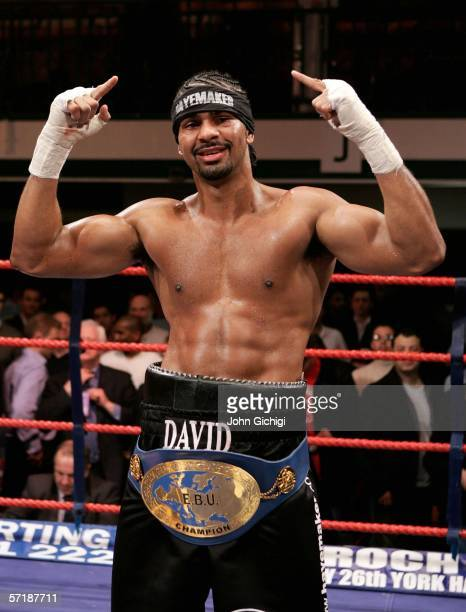 David Haye gestures after winning the fight against Lasse Johanesen of Denmark during the European Cruiserweight title fight on March 24, 2006 at...