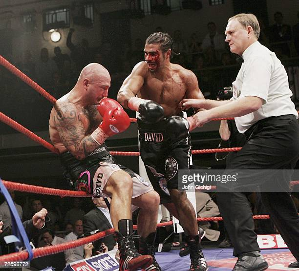 David Haye hits Giacobbe Fragomeni with a right cross to finish the fight during the European Cruiserweight title fight on November 17 2006 at York...