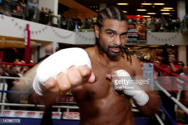 David Haye in action during a public workout at Bluewater Shopping Centre on July 7 2012 in Greenhithe England