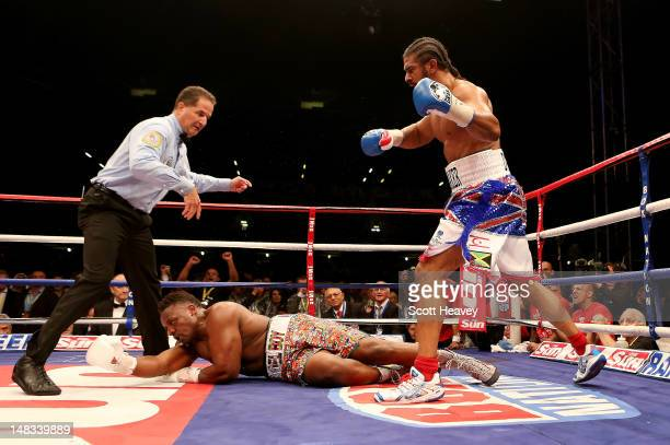 David Haye knocks out Dereck Chisora during their vacant WBO and WBA International Heavyweight Championship bout on July 14 2012 in London England