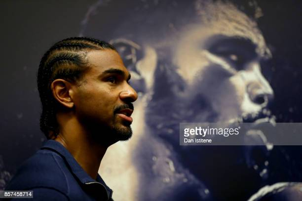 David Haye looks on during a press conference at the Park Plaza Hotel on October 4 2017 in London England Haye and Bellew will face each other in a...