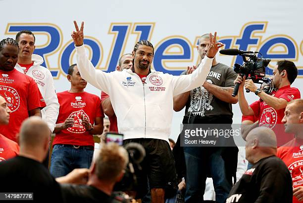 David Haye makes his way to the ring during a public workout at Bluewater Shopping Centre on July 7 2012 in Greenhithe England