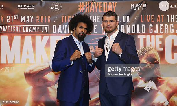 David Haye of England and Arnold Gjergjaj of Kosovo are pictured together during a David Haye press conference at Grosvenor House on March 30 2016 in...