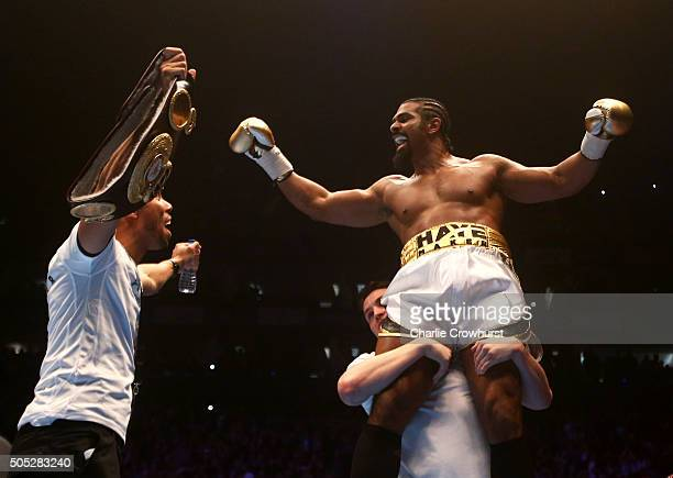 David Haye of England celebrates after beating Mark De Mori of Australia during their International heavyweight contest at The O2 Arena on January 16...