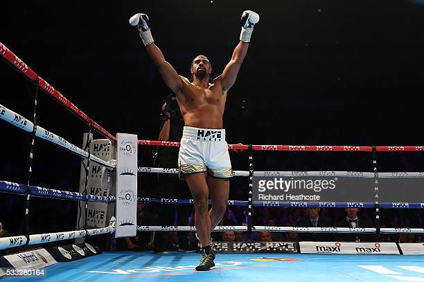 David Haye of England celebrates victory against Arnold Gjergjaj of Switzerland during their Heavyweight fight at The O2 Arena on May 21 2016 in...